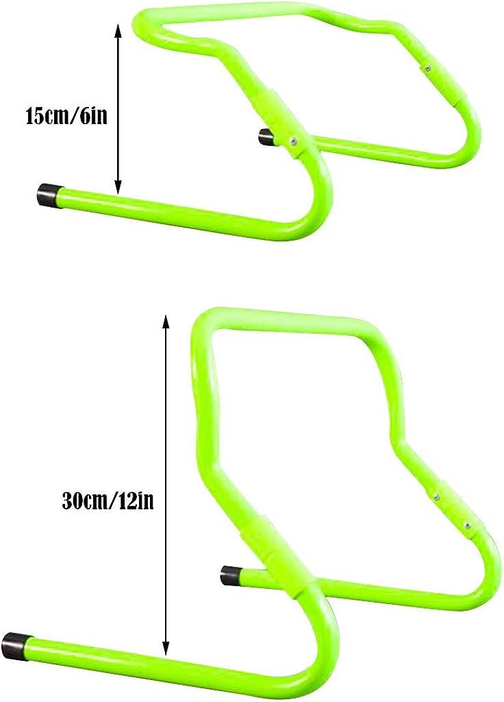 Shipped by US Eoeth Football Training Equipment,Adjustable Hurdle,Multi Sport Plyometric Fitness Barrier Football Speed Training Hurdle 5 Hurdles Plus 1 Portable,Fluorescent Green