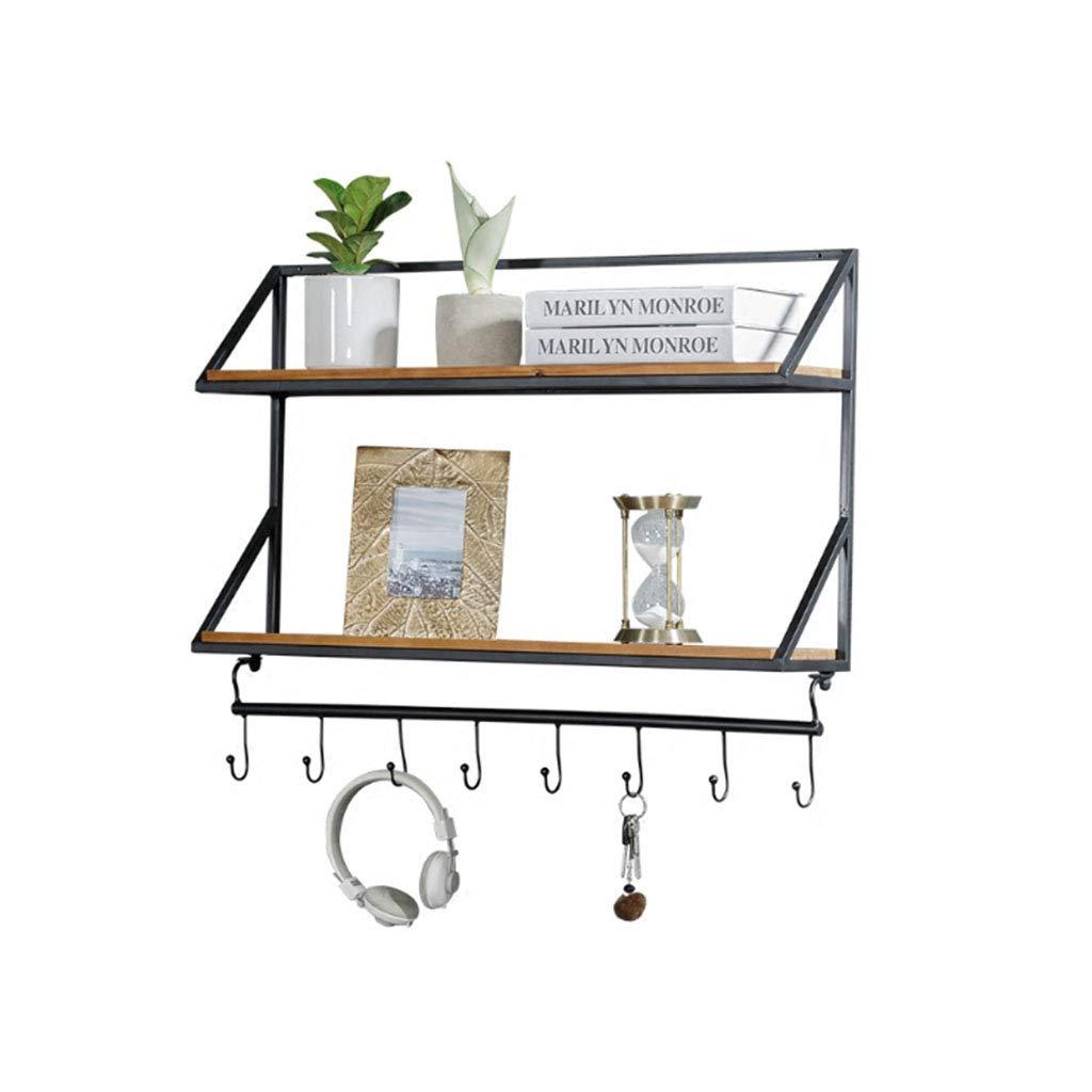 L 100cm17cm59cm DQMSB Wrought Iron Vintage Wall Solid Wood Creative Shelf Wall Shelf Coat Racks (Size   L 100cm17cm59cm)