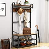 VASAGLE Industrial Coat Rack Storage Bench,...