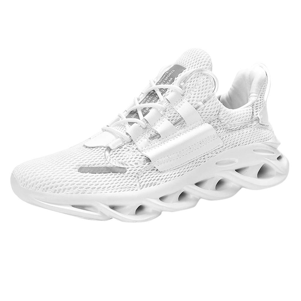 Breathable Casual Sneakers,QueenMMMen's Lace-Up Mesh Ultra Lightweight Comfort Running Shoes Walking Tennis Gym White by QueenMM Sneakers