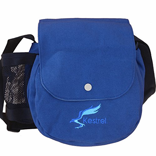 Frisbee Player (Kestrel Disc Golf Bag | Fits 6-10 Discs + Bottle | For Beginner and Advanced Disc Golf Players | Extremely Durable Canvas | Disc Golf Bag Set | Frisbee Golf Bag - Blue)
