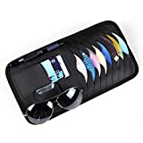 Car CD DVD Holder Disc PU Leather Storage Case Sunglasses Organizer Sun Visor Sunshade Sleeve Wallet Clips in Black Color by HitCar