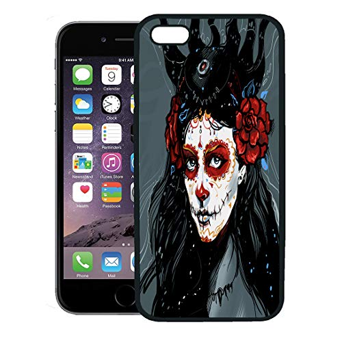 Semtomn Phone Case for iPhone 8 Plus case,Blue Calavera Muerte Red Girl Catrina Face Skull Flower iPhone 7 Plus case Cover,Black]()