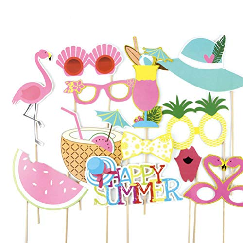 Summer Photo Booth Props Luau Party Supplies, Pack of 12