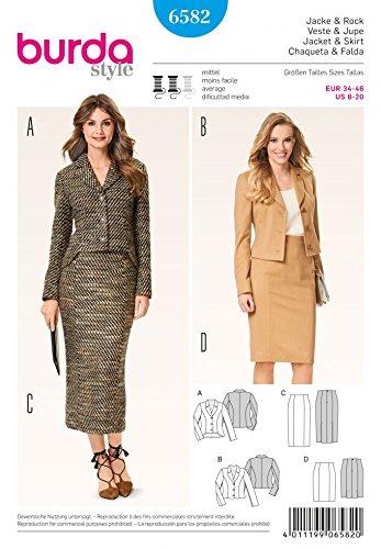 Amazon.com: Burda Ladies Sewing Pattern 6582 Suit Blazer Jacket ...