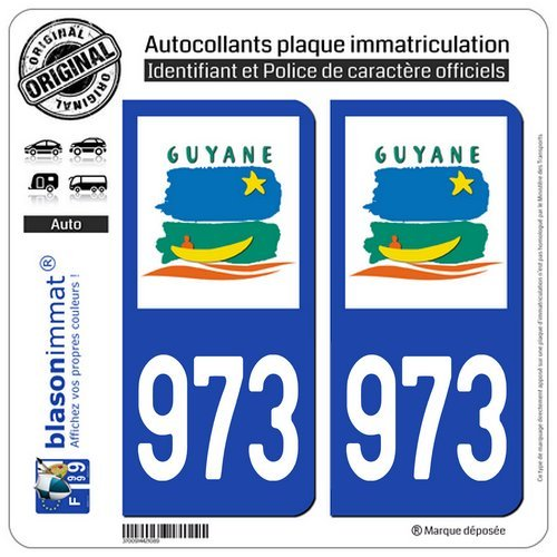 blasonimmat 2 Autocollants plaque immatriculation Auto 973-H Guyane - LogoType