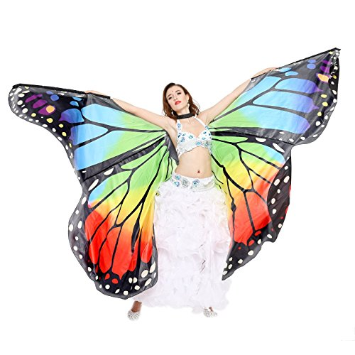 Dance Fairy Belly Dance Butterfly Angel Isis Wings with Flexible Sticks(Rainbow)-L Size