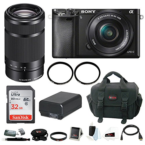 Sony Alpha A6000 Mirrorless Digital Camera w/ 16-50mm + 55-2