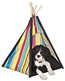 Pacific Play Tents 9030 Cozy Pet Teepee House with Wooden Poles, 26″ x 24.5″ x 27″ For Sale