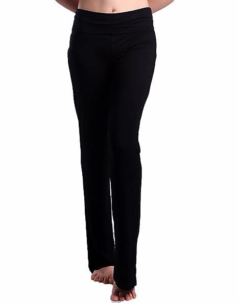 6747b78734 HDE Women's Fold Over Waist Yoga Lounge Pants Flare Leg Workout Leggings ( Black, Small