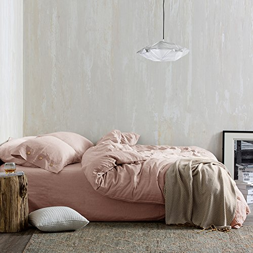 Womens Duvet (Bedding Queen Duvet Cover Set Pink, 3 piece 1200 TC Hotel Luxury Hypoallergenic Microfiber Down Comforter Quilt Cover with Deco Buttons, Zipper, Ties - Best Modern Style for Men and Women)