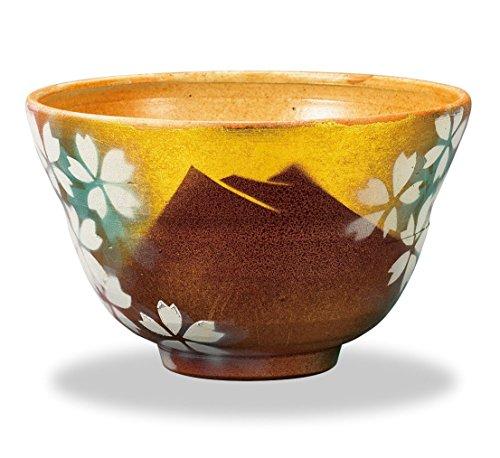 Kutani Pottery Matcha (Japanese Green Tea) Bowl Red Mountain Fuji with white flowers AP3-3021 from Japan by Kutani Pottery