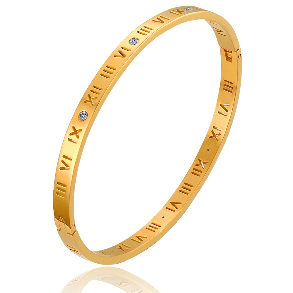 BEMI Elegant 18K Gold Engraved Roman Numerals Zircon Bangle Cocktail Party Engagement Bracelets Women LeiZ INC CBB-189