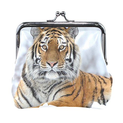 Clutch Tiger (MaMacool Coin Pouch Purse Womens Tiger Sitting The Snow Wallet Card Holder Coin Purse Clutch Handbag)
