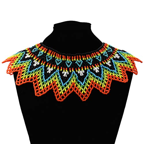 (Idealway African Zulu Beaded Necklace Tribal Choker Colorful Acrylic Indian Ethnic Bib Collar (Colorful)