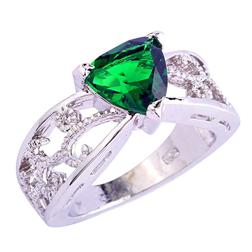 - Veunora 925 Sterling Silver Created Trillion Emerald Quartz Filled Engagement Ring for Women