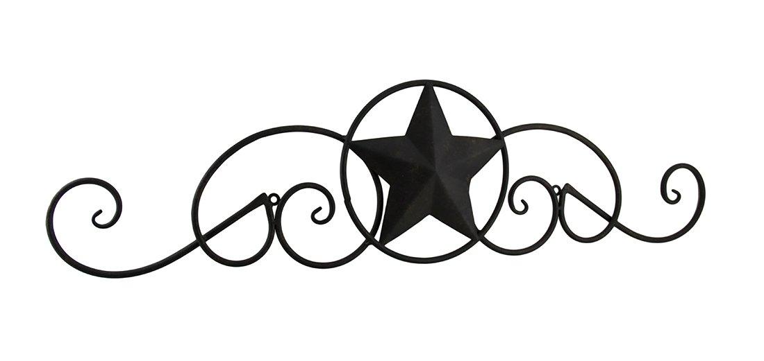Zeckos Scrolling Metal Western Star Decorative Wall Hanging