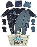 Organic Baby Gift Basket - 8 Piece Newborn Gift Set for a Boy