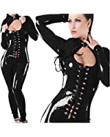 C.X Trendy Sexy Sleekly Styled Catsuit with Front Lace Opening Corset - Black - Small/Medium