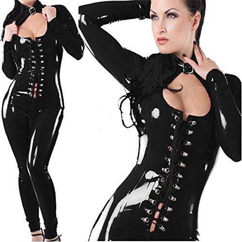 C.X Trendy Sexy Sleekly Styled Catsuit with Front Lace Opening Corset - Black - (Dominatrix Outfit)