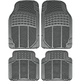 OxGord Universal Fit Front/Rear 4-Piece Full Set Ridged Heavy Duty Rubber Floor Mat - (Gray)