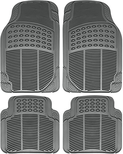 OxGord Universal Fit Front/Rear 4-Piece Full Set Ridged Heavy Duty Rubber Floor Mat - (Gray) (Rear Heavyweight Set Mat)