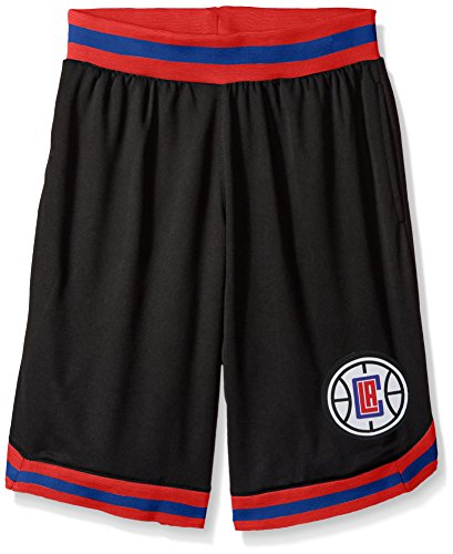 fan products of NBA Men's Los Angeles Clippers Mesh Basketball Shorts Woven Active Basic, Large, Black