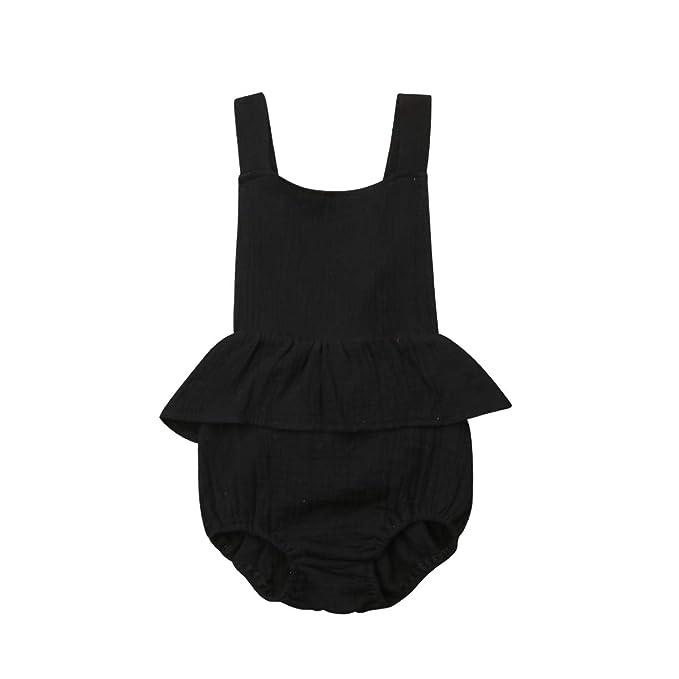Amazon.com: Bebé recién nacido niñas sin mangas volantes ...