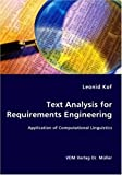 Text Analysis for Requirements Engineering- Application of Computational Linguistics, Leonid Kof, 3836445255