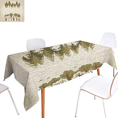 familytaste Forest Printed Tablecloth Trees on Weathered Background Fall Season Environment Inspirations Print Rectangle Tablecloth 60