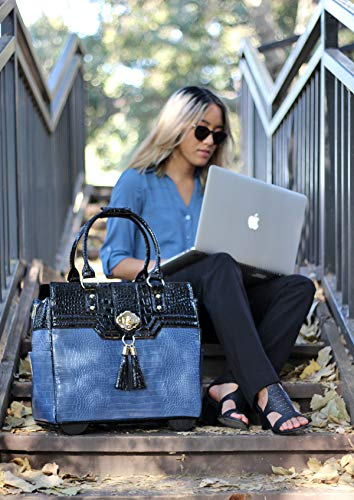 The-Oceanside-Blue-Black-Alligator-Faux-Leather-Computer-iPad-Laptop-Tablet-Rolling-Tote-Bag-Briefcase-Carryall-Bag