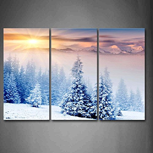 First Wall Art - Tree Covered Snow With Sunlight In Winter Wall Art Painting The Picture