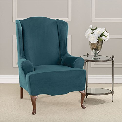 Brylanehome Ultimate Stretch Faux Suede Wing Chair Cushion Slipcover (Peacock Blue,0) (Edging Stretch Elastic)