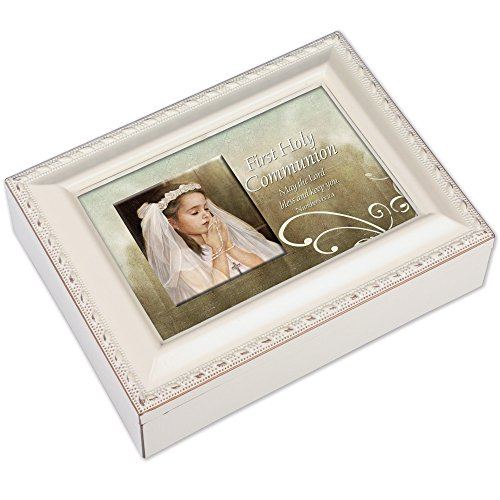Musical Rosary Box (First Communion for Girl Ivory Rosary Jewelry Music Box Plays Ave Maria)