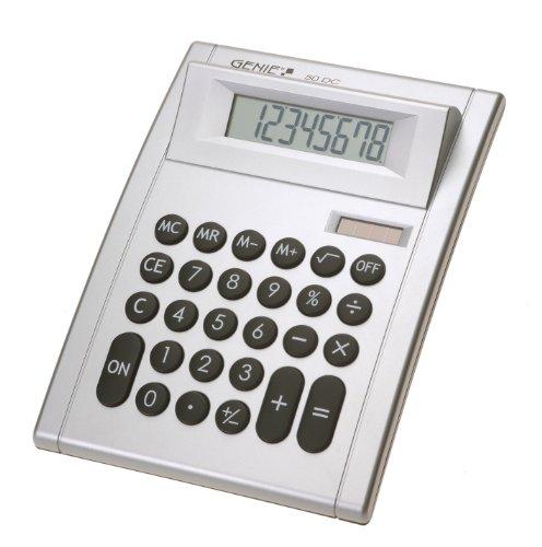 Genie 50 DC 8-stelliger Tischrechner (Dual-Power (Solar und Batterie), kompaktes Design) silber