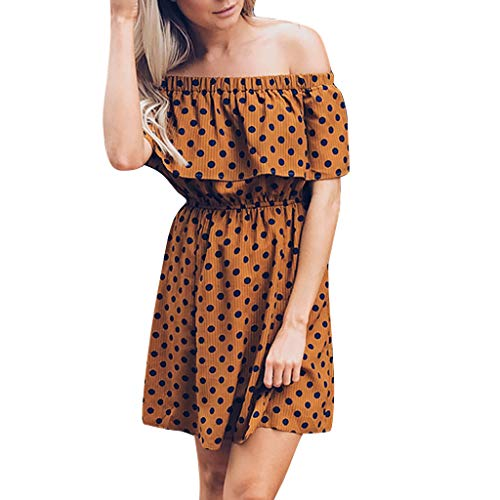 2019 New Women Pleated Ruffles Dress,Wave Dot Printed Mini Sexy Off Shoulder Dress (XL, Yellow)