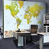 Cityscape Architecture Multi Color Traditonal Map Of The World Large Wall Mural Ideas For Room Divider Home Decor And Educational Purpose