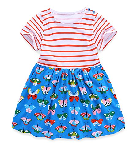 Girls Striped Butterfly Summer Tunic Dresses Twirly Swing Casual Cotton tshirt Dress for Toddler Girl Kid with Pockets Pink Blue 2t