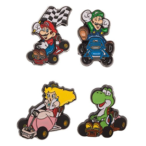 Bioworld Super Nintendo NES Classic Mario Kart Lapel Pin Set | Luigi, Princess, Mario, (Nintendo Pin)