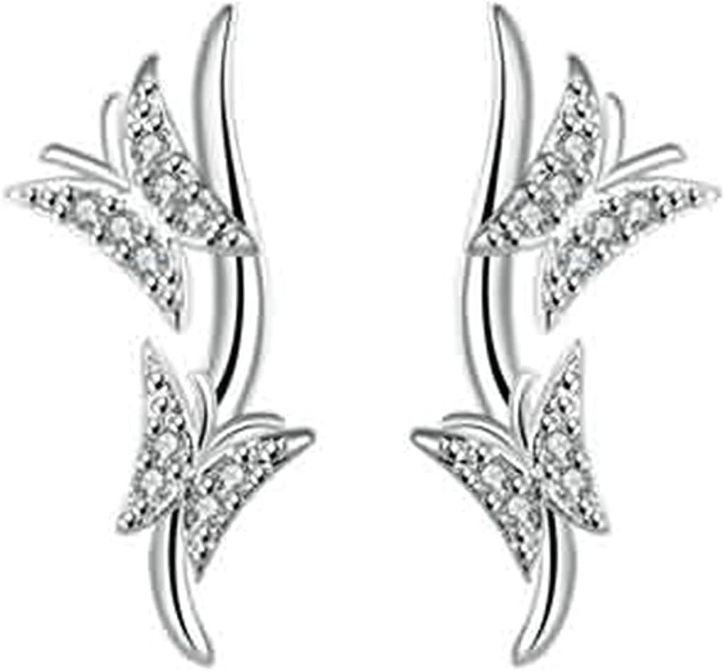 KNSAM - Pendientes Plata Mujer Doble CZ Mariposa Plata Aleación Cristal Aretes para Novias