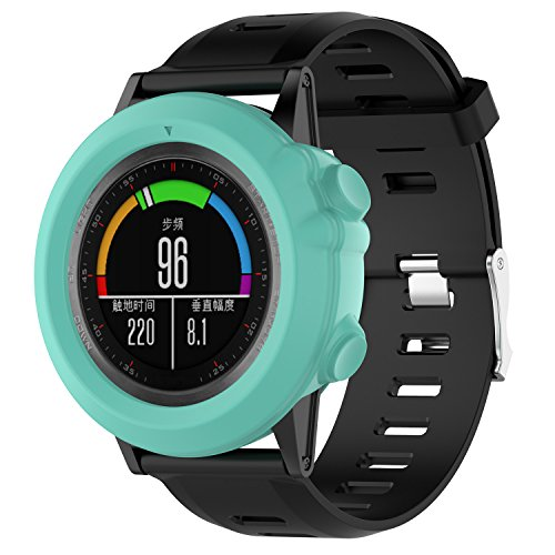 Sapphire Mint - MoreToys Soft Silicone Replacement Accessories Shock-proof and Shatter-resistant Rugged Protector Case for Garmin Fenix 3/HR/Sapphire, Quatix 3, Tactix Bravo Smartwatch (Mint Green)