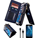 iPhone 6 Wallet Case, iPhone 6S Case,Bonice Premium Leather Zipper Wallet Multifunctional Detachable Removable Purse Card Slot Pocket Wallet Pouch Protective Cover for iPhone 6s/6 4.7, Dark Blue