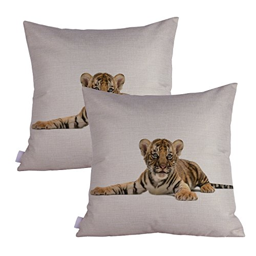 Queenie - 2 Pcs Wild Animals Decorative Pillowcase Cushion Cover for Sofa Throw Pillow Case 18 X 18 Inch 45 X 45 Cm, Set of 2 (Baby Bengal Tiger)