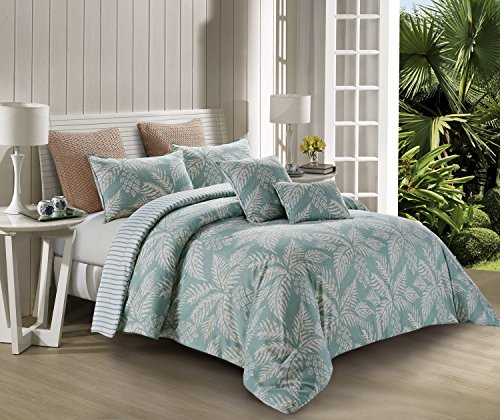 100% Polyester Tropical Palm Tree Bed Set (1 Comforter/Quilt+ 2 Shams) for Hair and Skin Hypoallergic (King Oversized- 1 Comforter/ 2 King Shams, Eau Palma (Turquoise Tropical)) - Comforter Sets Tropical
