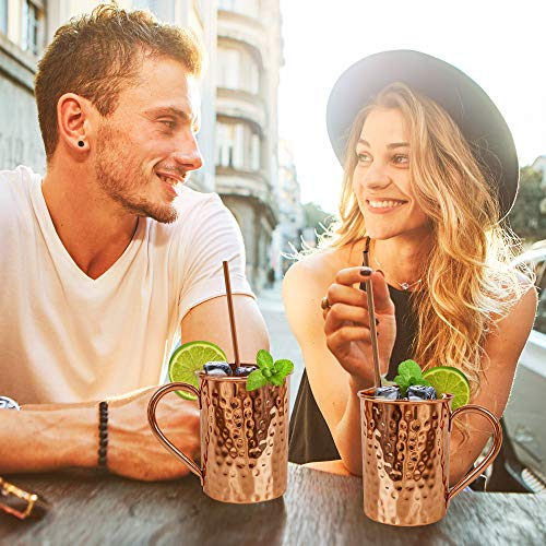 Moscow Mule Copper Mugs Set :4 16 oz. Solid Genuine Copper Mugs : Cylindrical Shape : Handmade in India, 4 Straws, 4 Wood Coasters, Shot Glass : Comes in Elegant Gift Box, by Yooreka by Yooreka (Image #6)