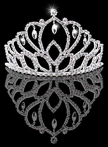 Bienvenu Tiara Crown Rhinestone Headband Comb Pin Wedding Bridal Crown Party - Crystal Tiara Light Nine