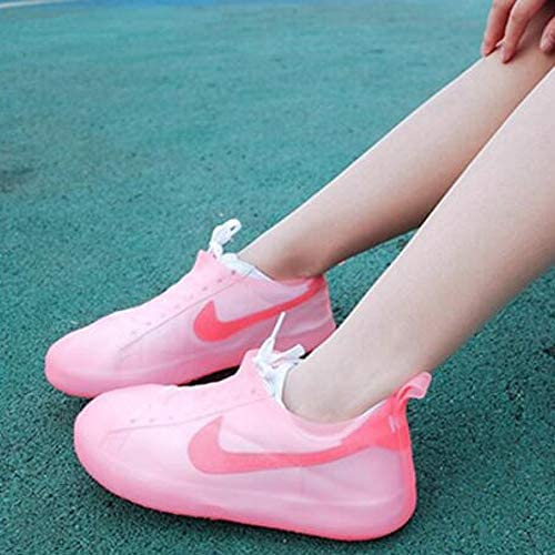 XHYRB 靴カバー、防水ブーツ、靴カバー、再利用可能な非スリップ雨雪オーバーシューズ折り畳み式の雨靴 防水靴、防雨カバー、長靴 (Color : Pink, Size : M)