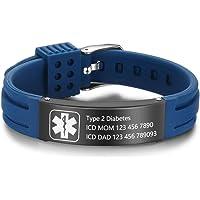 "Lam Hub Fong 9"" Pulsera Alerta Médica Personalizable Pulsera de Silicona Ajustable impermeabl Medical de Identificación…"