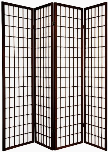 BlueBoxInnovations TOKYO Dark Brown Handmade Wood and Paper 4 Pane Room Divider/Splitter Screen