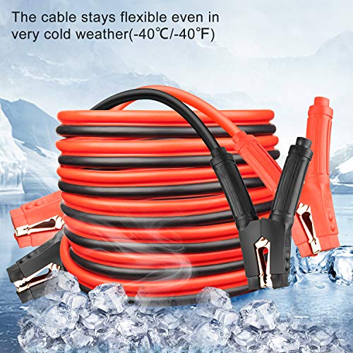 NoOne Booster Cable 0 Gauge x 25 Feet 0AWG x 25FT Heavy Duty Long Battery Jumper